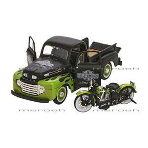 ماکت وانت Maisto مدل Ford F1 Pickup و موتورسیکلت Panhead